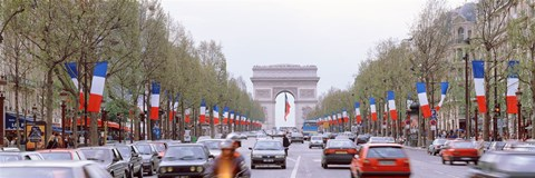 Framed Traffic on a road, Arc De Triomphe, Champs Elysees, Paris, France Print