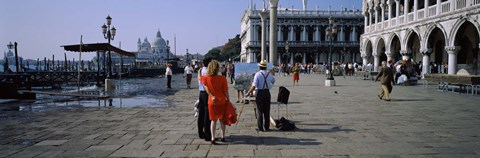 Framed Tourists at a town square, St. Mark's Square, Venice, Veneto, Italy Print