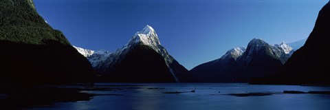 Framed Lake at Milford Sound, South Island, New Zealand Print