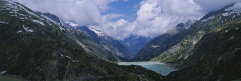 Framed High angle view of a lake surrounded by mountains, Grimsel Pass, Switzerland Print