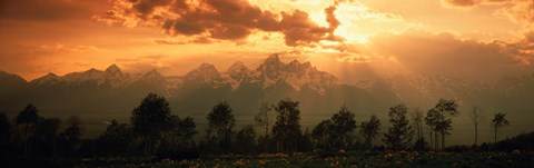 Framed Dawn Teton Range Grand Teton National Park WY USA Print