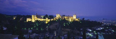 Framed Palace lit up at dusk, Alhambra, Granada, Andalusia, Spain Print