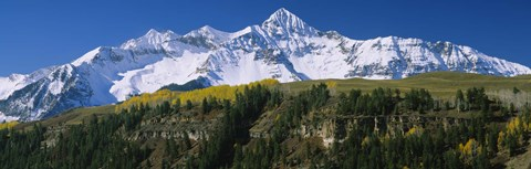 Framed Snowcapped mountains on a landscape, Wilson Peak in autum, San Juan Mountains, near Telluride, Colorado Print