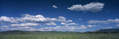 Framed Clouds and meadow, Wyoming, USA Print