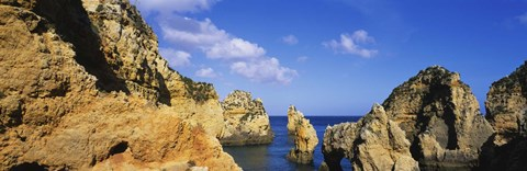 Framed Rock formations, Algarve, Portugal Print