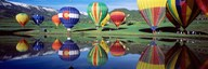 Reflection Of Hot Air Balloons On Water, Colorado, USA Art
