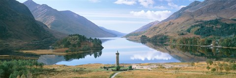 Framed Scotland, Highlands, Loch Shiel Glenfinnan Monument, Reflection of cloud in the lake Print
