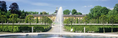 Framed Fountain in a garden, Potsdam, Germany Print