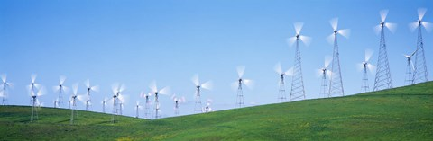 Framed Wind turbines spinning on hills, Altamont Pass, Livermore, California, USA Print