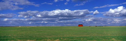 Framed Field And Barn, Saskatchewan, Canada Print