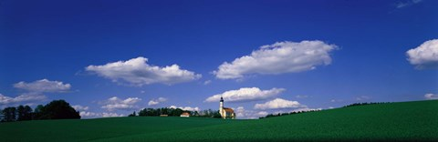 Framed Rural Scene With Church, Near Niederaich, Germany Print