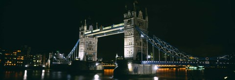 Framed Bridge lit up at night, Tower Bridge, London, England Print