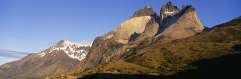 Framed Low angle view of a mountain range, Torres Del Paine National Park, Patagonia, Chile Print