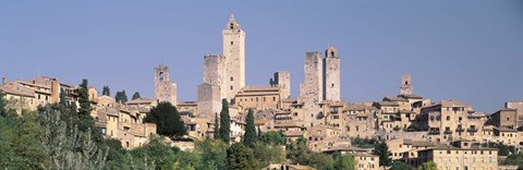 Framed Italy, Tuscany, Towers of San Gimignano, Medieval town Print