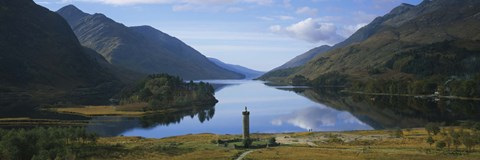 Framed High angle view of a monument near a lake, Glenfinnan Monument, Loch Shiel, Highlands Region, Scotland Print