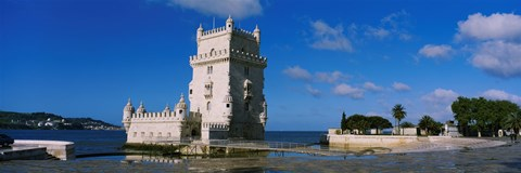 Framed Fort at the coast, Torre De Belem, Lisbon, Portugal Print