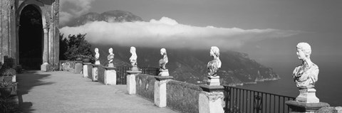 Framed Marble busts along a walkway, Ravello, Amalfi Coast, Salerno, Campania, Italy Print
