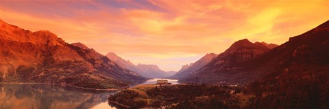 Framed Sunset Over Waterton Lakes National Park, Alberta, Canada Print
