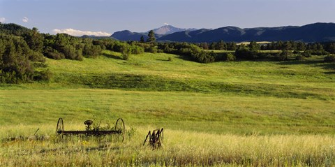 Framed Agricultural equipment in a field, Pikes Peak, Larkspur, Colorado, USA Print
