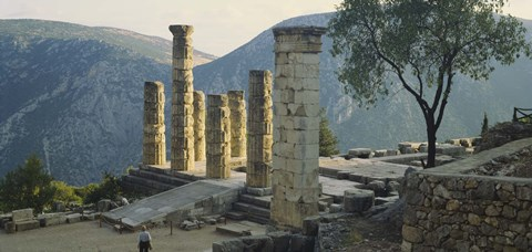 Framed High angle view of ruined columns, Temple Of Apollo, Delphi, Greece Print