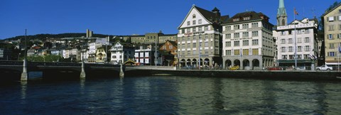 Framed Buildings at the waterfront, Limmat Quai, Zurich, Switzerland Print