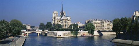 Framed Cathedral along a river, Notre Dame Cathedral, Seine River, Paris, France Print