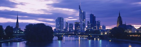 Framed Buildings lit up at night, Frankfurt, Germany Print