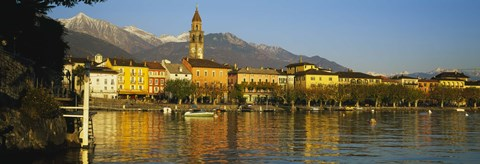 Framed Town At The Waterfront, Ascona, Ticino, Switzerland Print