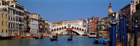 Framed Bridge across a canal, Rialto Bridge, Grand Canal, Venice, Veneto, Italy Print