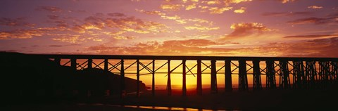 Framed Silhouette of a railway bridge, Pudding Creek Bridge, Fort Bragg, California, USA Print