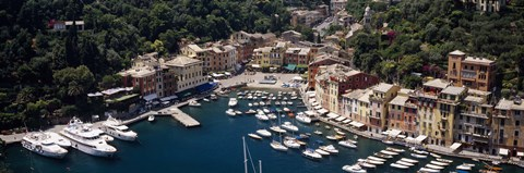 Framed High angle view of boats docked at a harbor, Italian Riviera, Portofino, Italy Print