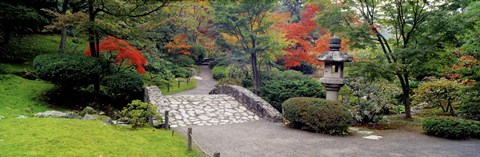 Framed Stone Bridge, The Japanese Garden, Seattle, Washington State Print