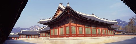 Framed Courtyard of a palace, Kyongbok Palace, Seoul, South Korea, Korea Print