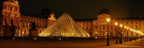 Framed Louvre Lit Up at Night, Paris, France Print