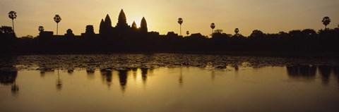 Framed Silhouette Of A Temple At Sunrise, Angkor Wat, Cambodia Print