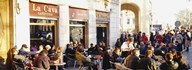 Tourists sitting outside of a cafe, Barcelona, Spain Art