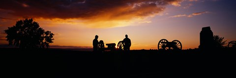 Framed Silhouette of statues of soldiers and cannons in a field, Gettysburg National Military Park, Pennsylvania, USA Print
