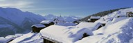 Snow Covered Chapel and Chalets Swiss Alps Switzerland Art