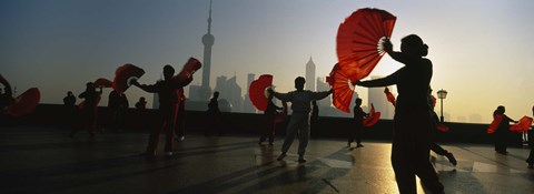 Framed Silhouette Of A Group Of People Dancing In Front Of Pudong, The Bund, Shanghai, China Print