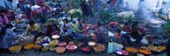 High Angle View Of A Group Of People In A Vegetable Market, Solola, Guatemala Art