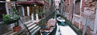 Gondolas in a canal, Grand Canal, Venice, Italy Art