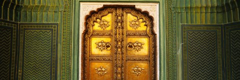 Framed Close-up of a closed door of a palace, Jaipur City Palace, Jaipur, Rajasthan, India Print