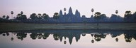 Reflection of temples and palm trees in a lake, Angkor Wat, Cambodia Art