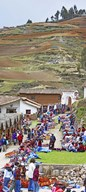 Group of people in a market, Chinchero Market, Andes Mountains, Urubamba Valley, Cuzco, Peru Art