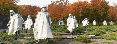 Framed Statues of army soldiers in a park, Korean War Memorial, Washington DC, USA Print
