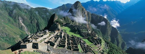 Framed High angle view of ruins of ancient buildings, Inca Ruins, Machu Picchu, Peru Print