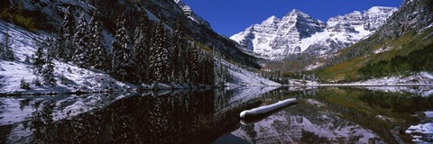 Framed Reflection of a mountain in a lake, Maroon Bells, Aspen, Colorado Print