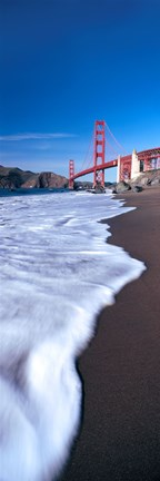Framed Water surf under a suspension bridge, Golden Gate Bridge, San Francisco Bay, San Francisco, California, USA Print