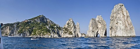 Framed Rock formations in the sea, Faraglioni, Capri, Naples, Campania, Italy Print