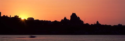 Framed City at sunset, Chateau Frontenac Hotel, Quebec City, Quebec, Canada Print